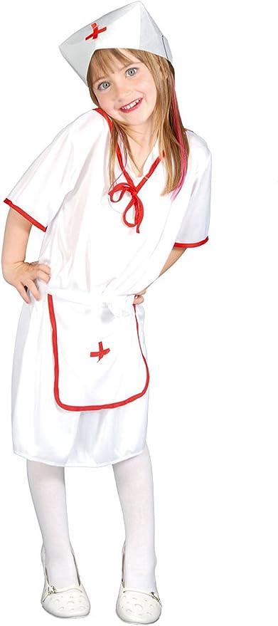 Guirca - Disfraz de enfermera con vestido y gorro, para niños de 7 ...