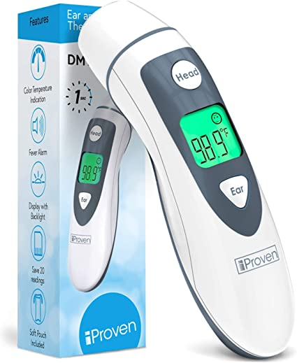 Fast and Accurate Readings Adults Forehead Thermometer No-Contact Infrared Ear Thermometer for Fever Children Babies