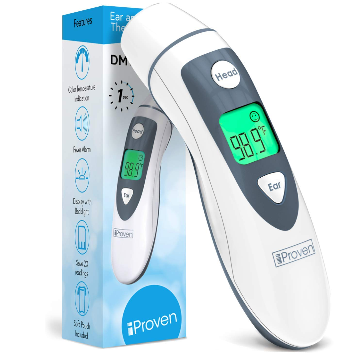 iProven DMT-489 Forehead and Ear Thermometer, Digital Infrared No Contact, for Adults, Kids, Baby, Health and Medical, FSA or HSA Eligible, Color Fever Temp Display, Touchless Temporal Head Readings