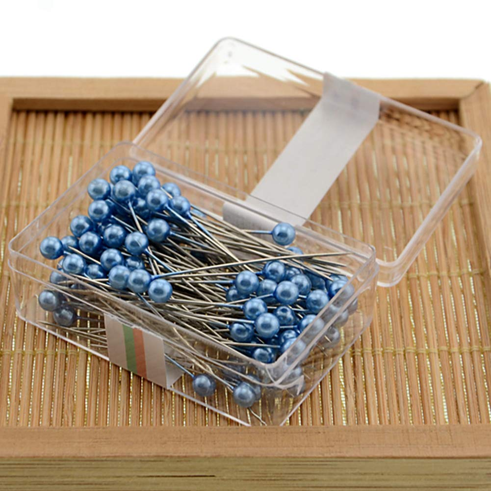 100pcs/box Sewing Pins, 36mm Multicolor Round Ball Head Pins for Jewelry Making, Straight Quilting Pins for Dressmaking Jewelry Components Flower Decor(Red) DAVEVY