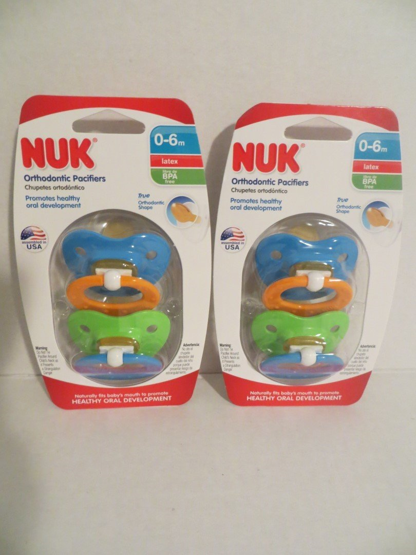 Amazon.com : 4 Nuk Orthodontic LATEX Pacifiers 0-6 Mo BOY Colors BPA ...