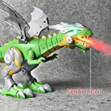 Dragon Toy for Boys Walking Dragon Toy Electronic Dinosaur Robot Toy,Outsta Multi-Functional Dinosaur Robot Battery Powered Mist Spray Flashing Lights Sounds Movement Kids (Green)