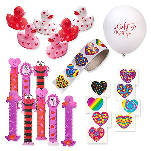 134 Piece Bulk Valentine Party Favors; 12 Mini Valentine Rubber Ducks, 48 Bookmarks, 72 Valentine Tattoos, Roll of 100 Heart Stickers + Gift Boutique Balloon.