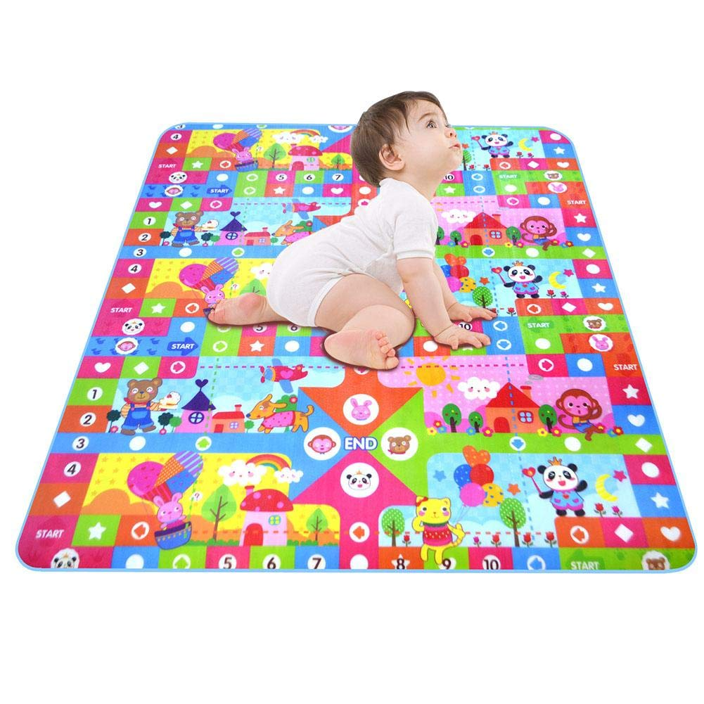 Blueyouth Baby CrawlingMat, Double-Sided Pattern Foam Play Mat, 0.5CM-Thickness Children's Educational Toys Foldable Baby Climbing Mat Floor Mat (2 * 1.8/1.8 * 1.2M).