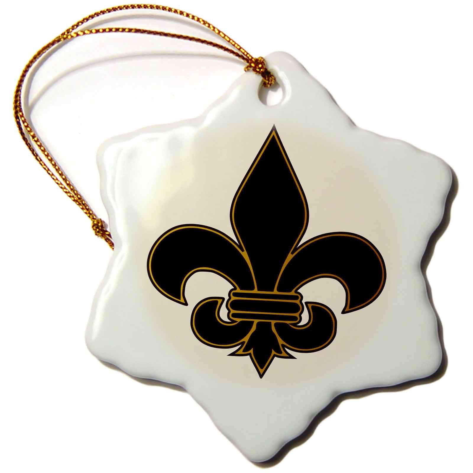 3dRose orn_22360_1 Large Black and Gold Fleur De Lis Christian Saints Symbol Porcelain Snowflake Ornament, 3-Inch