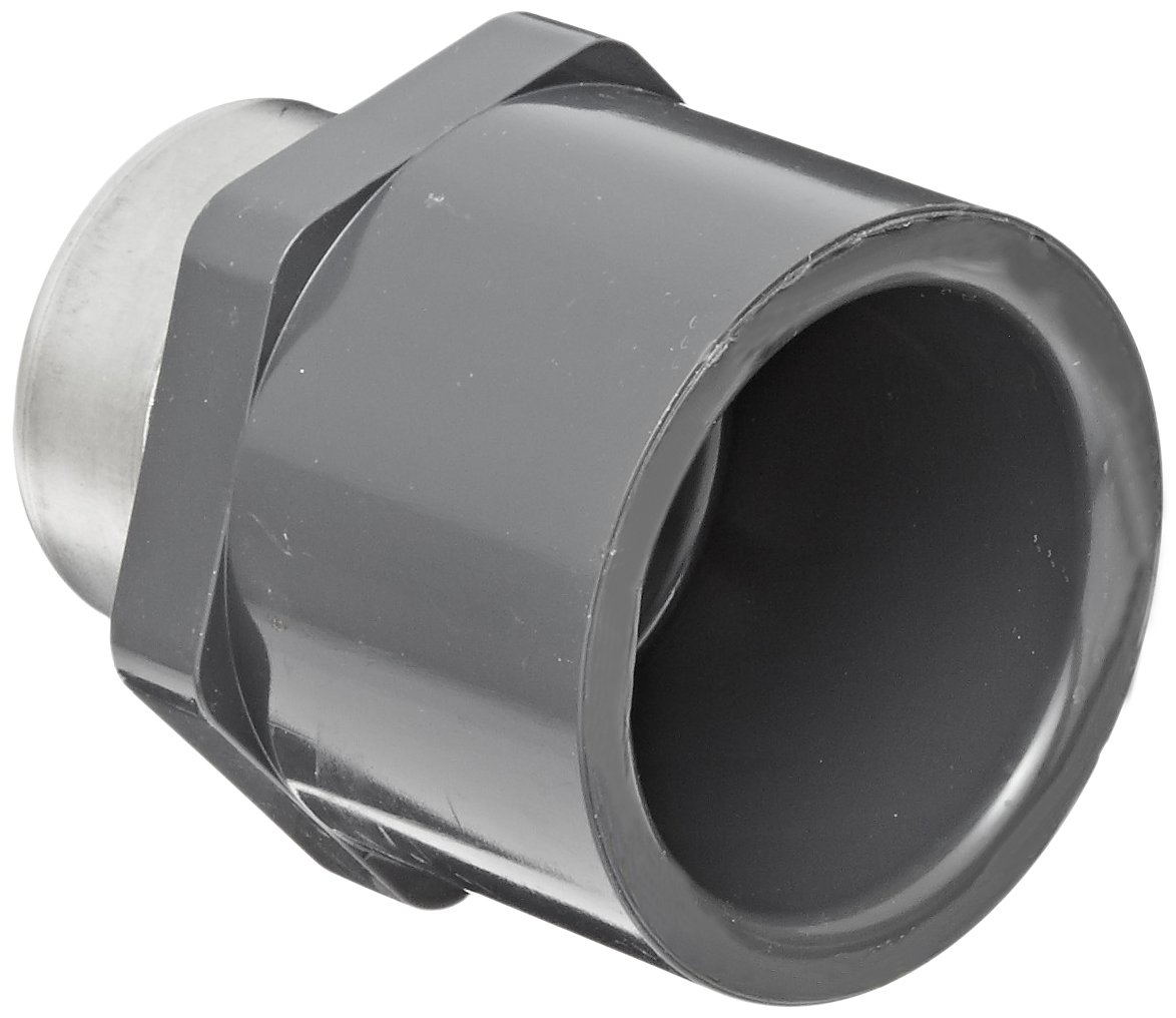 Gray 1//2 Socket x Stainless Steel Reinforced NPT Female Adapter Schedule 80 Spears 835-SR Series PVC Pipe Fitting