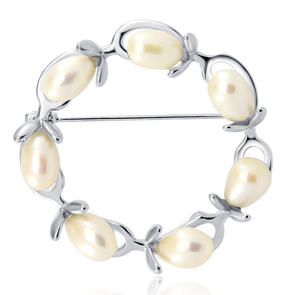 Olive Branches Freshwater Cultured Pearl Brooch Rhodium Plated Base Metal Setting