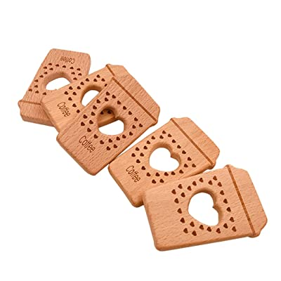 Amyster 5pcs Beech Wooden Teether Hand Cut Coffee Cup DIY Pendant Accessories Eco-Friendly Food Grade Wooden Teething Wood Baby Teether (5pcs): Toys & Games
