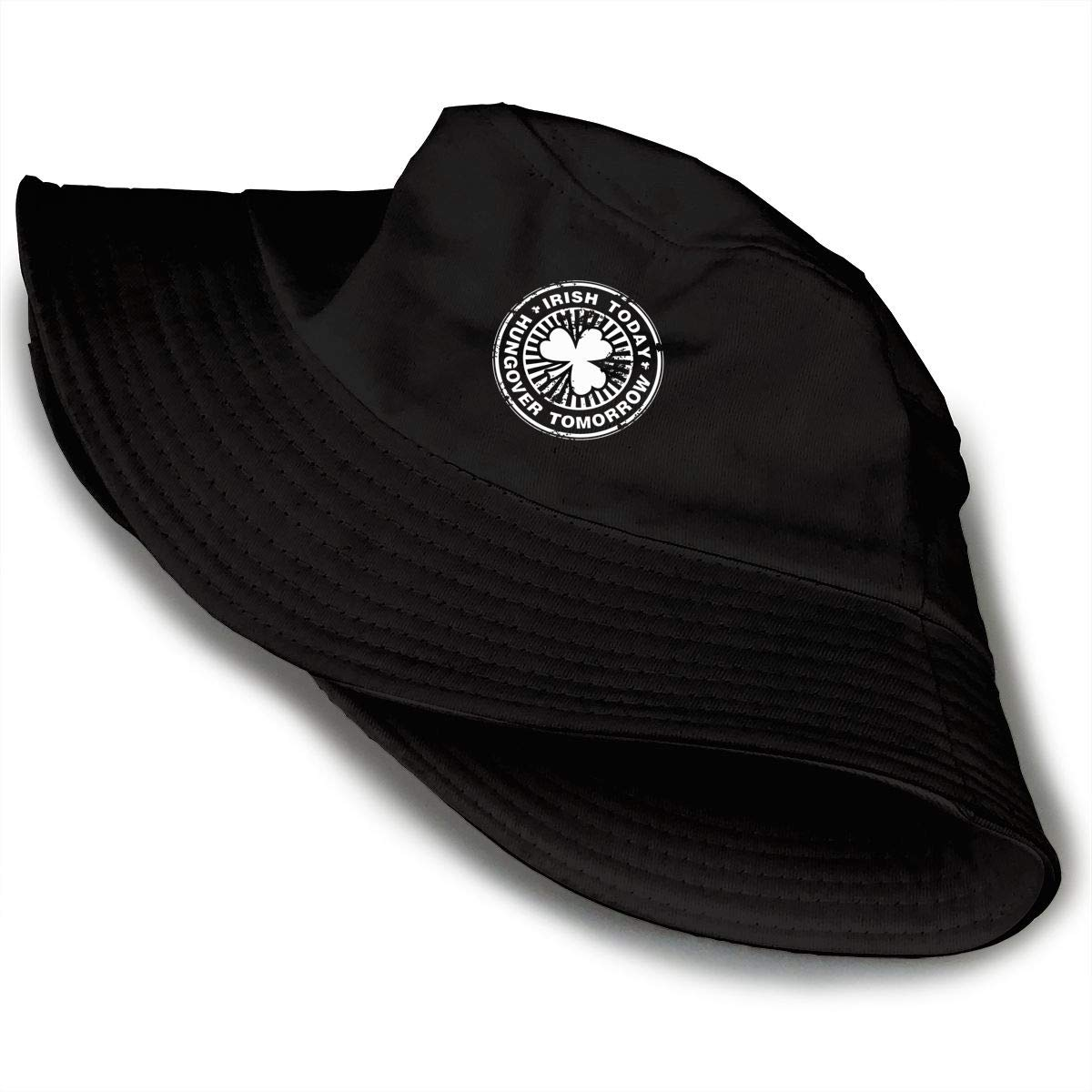 Irish Today Hungover Tomorrow Unisex Cotton Packable Black Travel Bucket Hat Fishing Cap