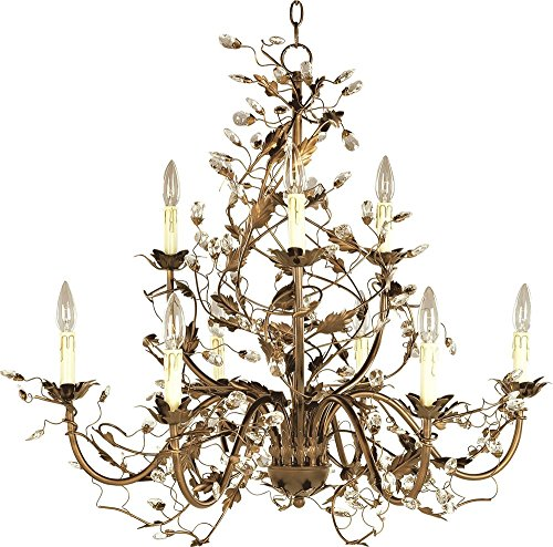 - Maxim 2852EG Elegante 9-Light Chandelier, Etruscan Gold Finish, Glass, CA Incandescent Incandescent Bulb, 60W Max, Dry Safety Rating, Standard Dimmable, Glass Shade Material, 672 Rated Lumens