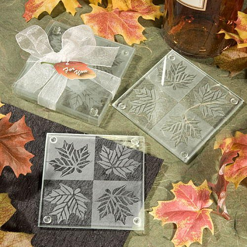 Fall Themed Coaster Favors, (Leaf Coaster Set Wedding Favors)