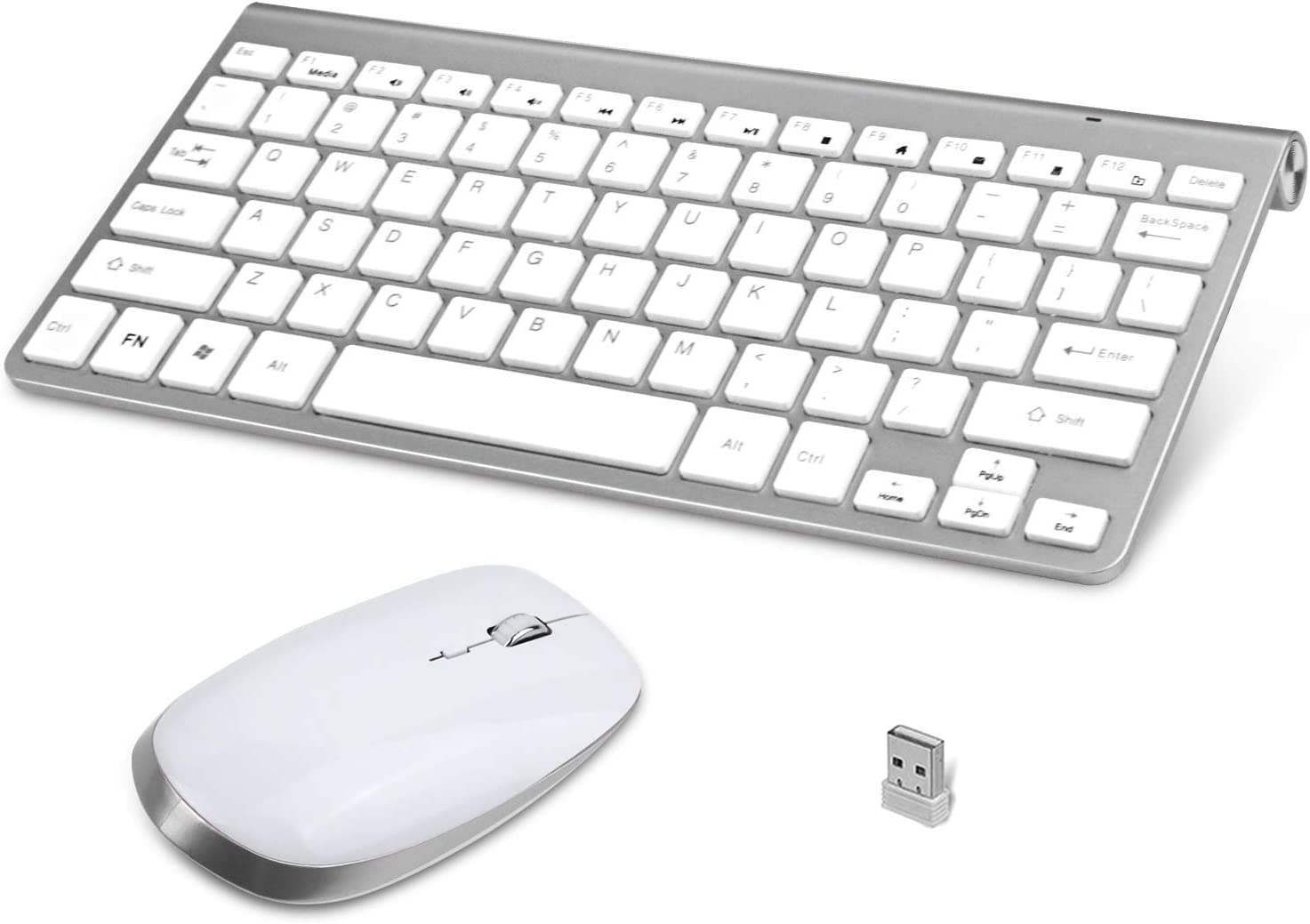 Zmsdt Ergonomic Wireless Keyboard and Mouse Compact Mini Slim Ultra-Thin Quiet Keyboard and Mouse