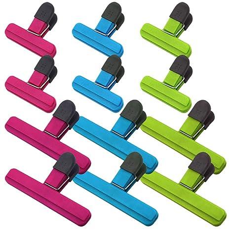 Sourceton - Clips para bolsas de alimentos (12 unidades, 6 grandes y 6 pequeños, varios colores)