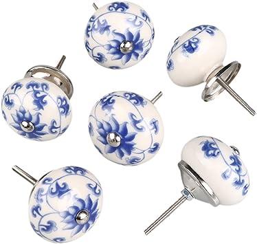 Blue white flower Ceramic Hand Made Door Knobs