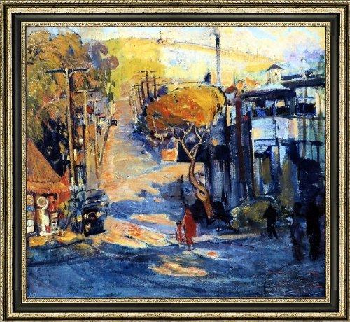 "Art Oyster Joseph Kleitsch Park Avenue- Old Laguna - 16.05"" x 16.05"" Premium Canvas Print with Black and Silver Frame"