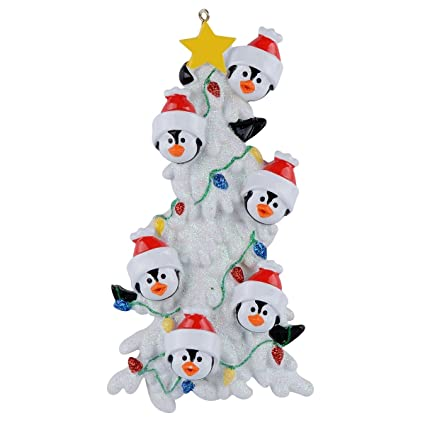 worldwide personalized penguin family christmas tree of 6 ornaments