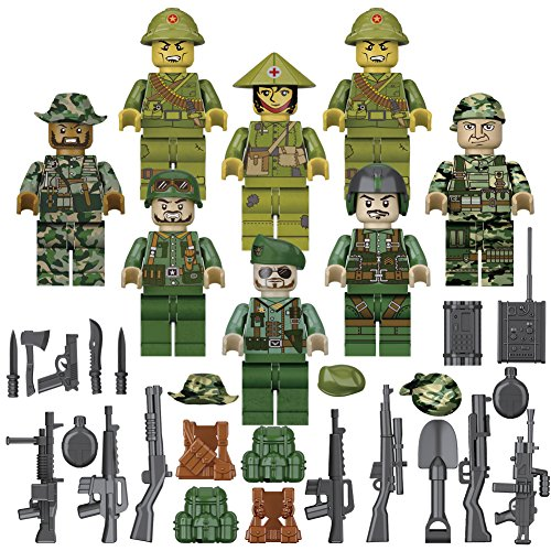 US Army Minifigures Set, Soldiers with Military Weapons Accessories, Building Blocks Lego - Compatible, Army Men Playset