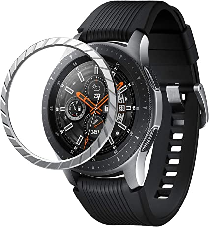 NotoCity Bezel Cover Compatible with Galaxy Watch 46mm/Gear S3 Watch Stainless Steel Protection Adhesive Cover Anti Scratch (Silver-1)