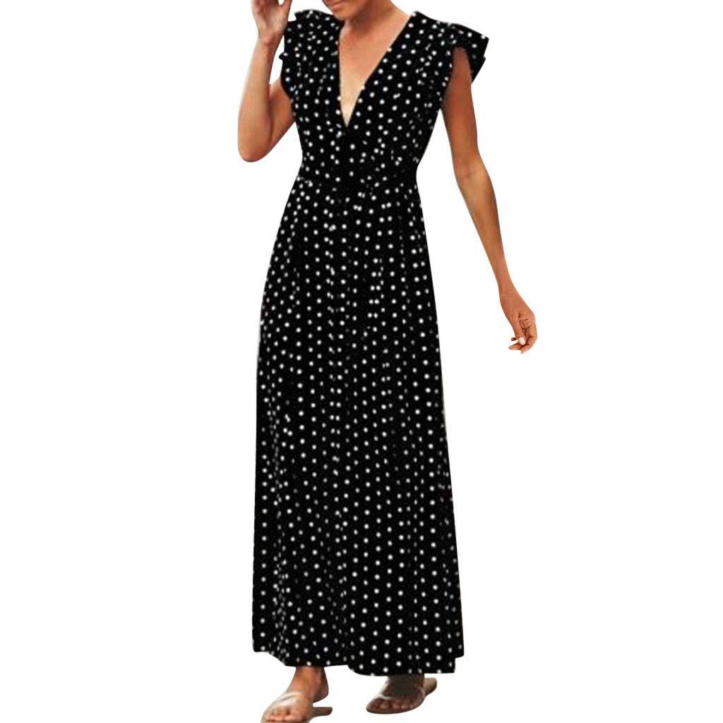 Off Shoulder Belt Long Dress Women,Mosunx Clothing Ruffle Short Sleeve V Neck Polka Dot Ankle Length A Line Evening Party Dresses Beach Sundress (Large, Black)