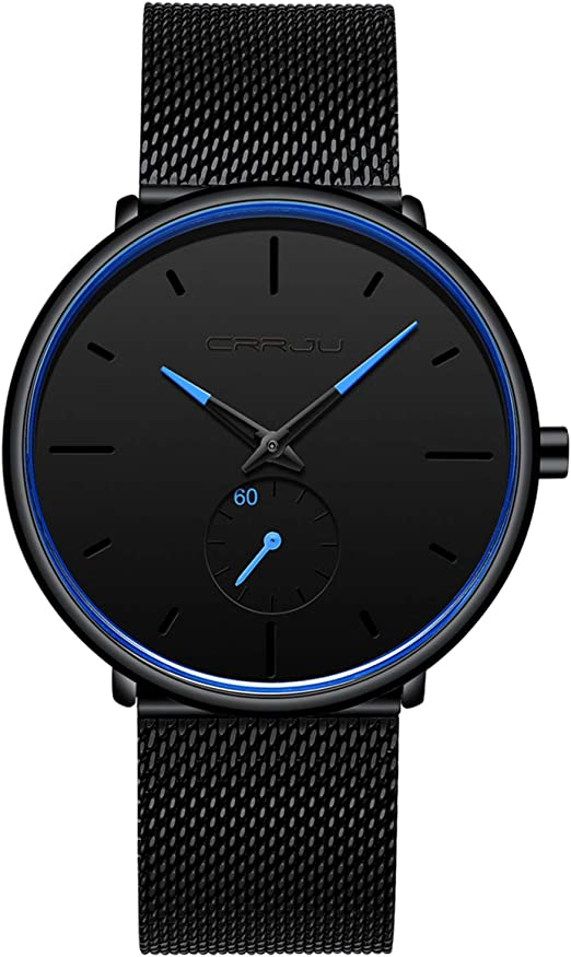 Amazon.com: Mens Watches Ultra-Thin Minimalist Waterproof-Fashion Wrist  Watch for Men Unisex Dress with Black Leather Band-Silver Hands: Watches