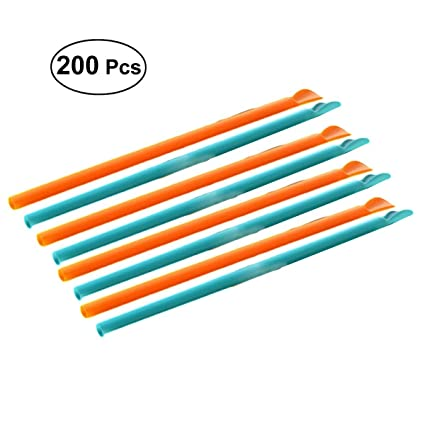 Compra BESTONZON 200 pajitas de cuchara envueltas ...