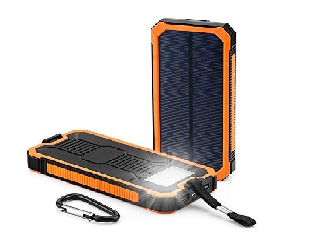 Solar Chargers 30,000mAh, LMS Portable Dual USB Solar Battery Charger External Battery Pack Phone Charger Power Bank with Flashlight for Smartphones Tablet Camera (Orange)