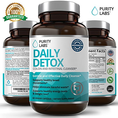 Advanced Daily Detox - Supports Colon and Intestinal Cleansing - 60 Veggie Capsules - Natural Weight Loss Aid - Perfect for Men and Woman - Digestive Enzymes for Colon Health & Increased Energy Levels