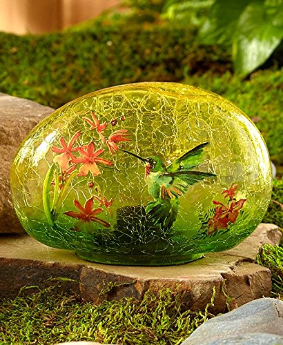 Solar Glass Garden Stone Hummingbird