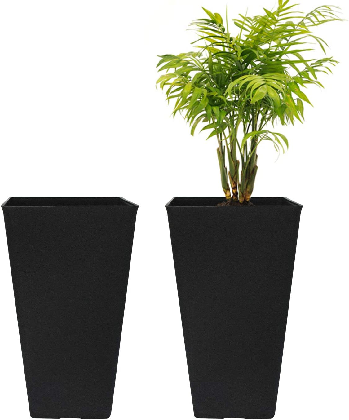 Tall Planters 20 Inch, Flower Pot Pack 2, Patio Deck Indoor Outdoor Garden Tree Resin Planters (Black)