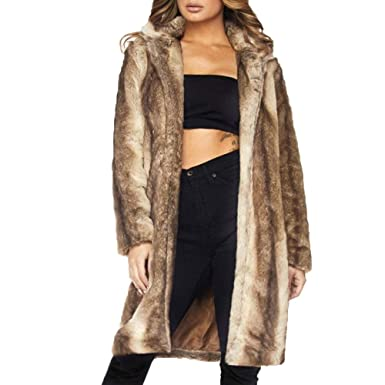 3bf4a621bc1a URIBAKE ❤ Newest Women's Fleece Overcoat Winter Faux Fur Warm Fluffy Casual  Lapel Parka Jacket Coat Outerwear Cardigan at Amazon Women's Coats Shop