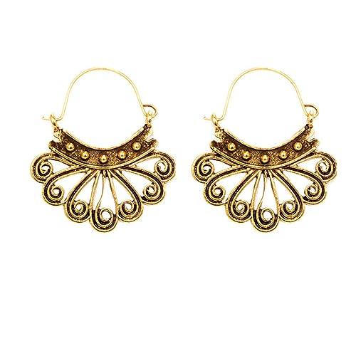 d396d5293 Amazon.com   Mysky Vintage Bohemian Openwork Peacock Flower Basket Metal  Ladies Earrings Jewelry Gold   Boots