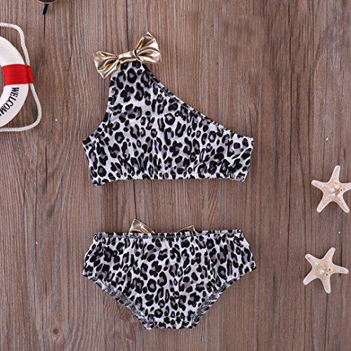 Sannysis Baby Bademode, Leopardenmuster Kinder Baby Bowknot eine Schulter Bikini Set Badeanzug Schwarz