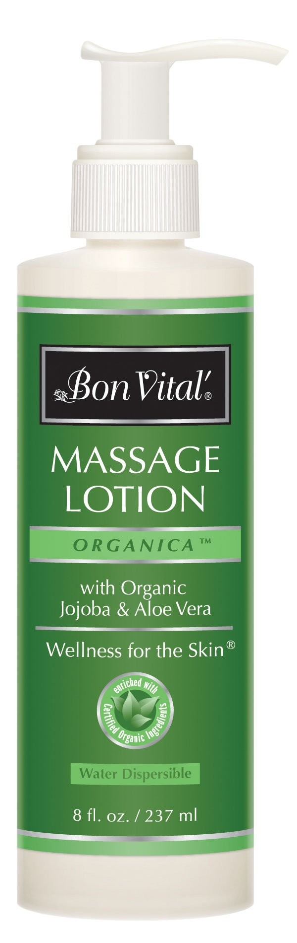 Bon Vital' Organica Massage Lotion Made with Certified Organic Ingredients for an Earth-Friendly & Relaxing Massage, Natural Moisturizer Perfect for Relaxing Back & Neck Massages, 8 Ounce Pump Bottle