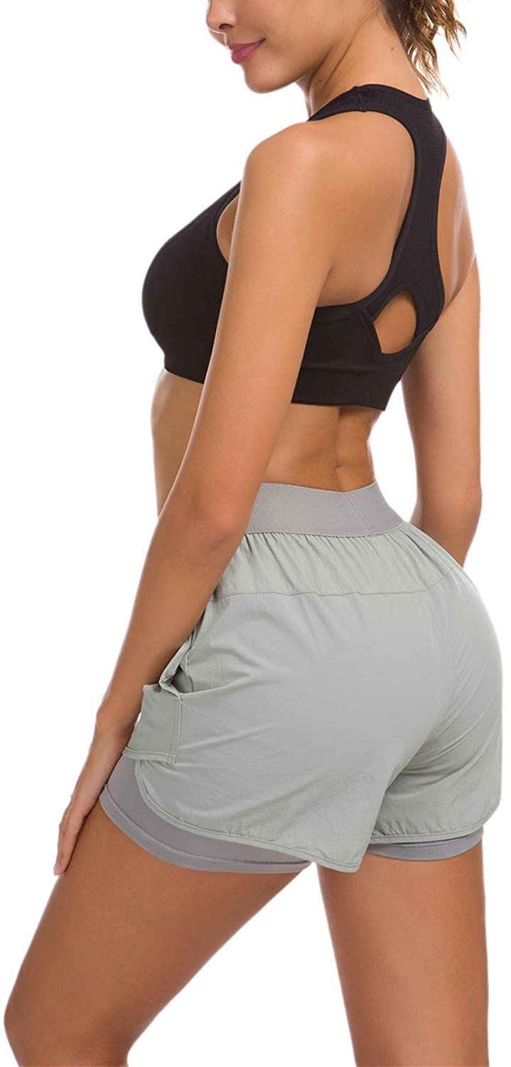 Custers Night Women Workout Fitness Running Shorts Double Layer Elastic Waistband Jogging Shorts 2-in-1