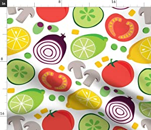 Spoonflower Fabric - Vegetables Food Print Retro Style Kitchen Printed on Petal Signature Cotton Fabric by The Yard - Sewing Quilting Apparel Crafts Decor