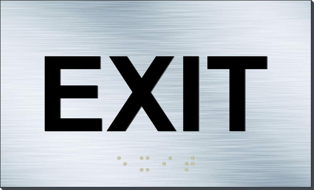 "ADA Exit Sign Aluminum Panel Raised Letters and Braille (5"" x 3"") Brushed Aluminum"