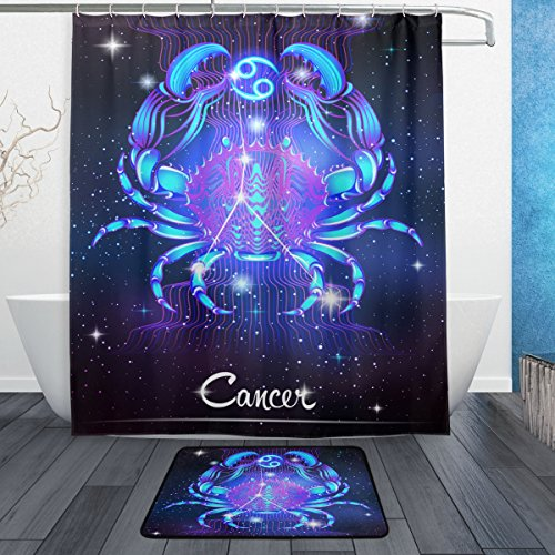 12 Constellation Zodiac Signs Cancer Shower Curtain Polyester Fabric Bathroom Curtain Set with Mats Rugs-12 Hooks