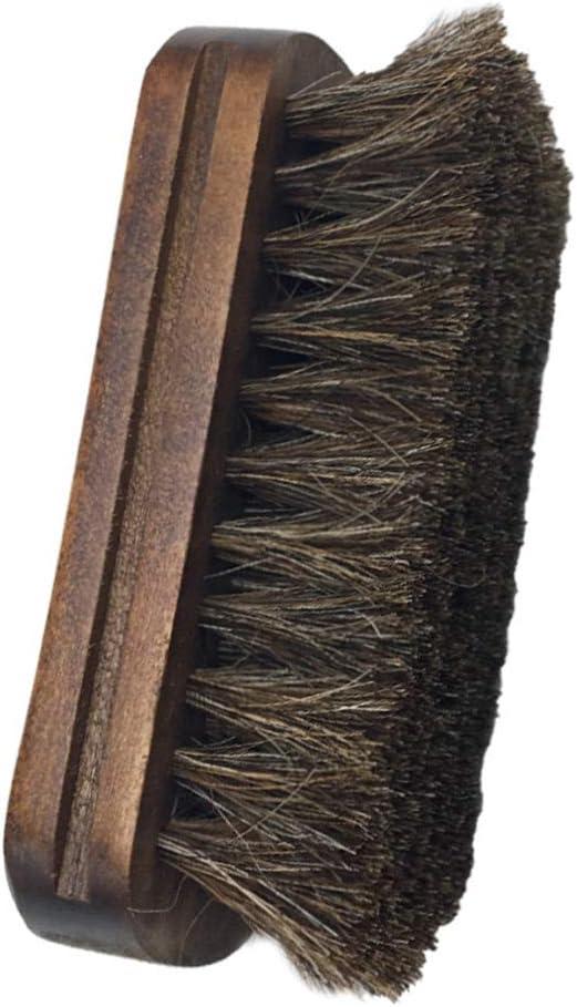 Wilk Durable Chaussures Accessoires Cirage de Chaussure Brosse Souple en Cuir v/éritable poign/ée en Bois Cheval Cheveux Soies Chaussures en Cuir Outil de Soins