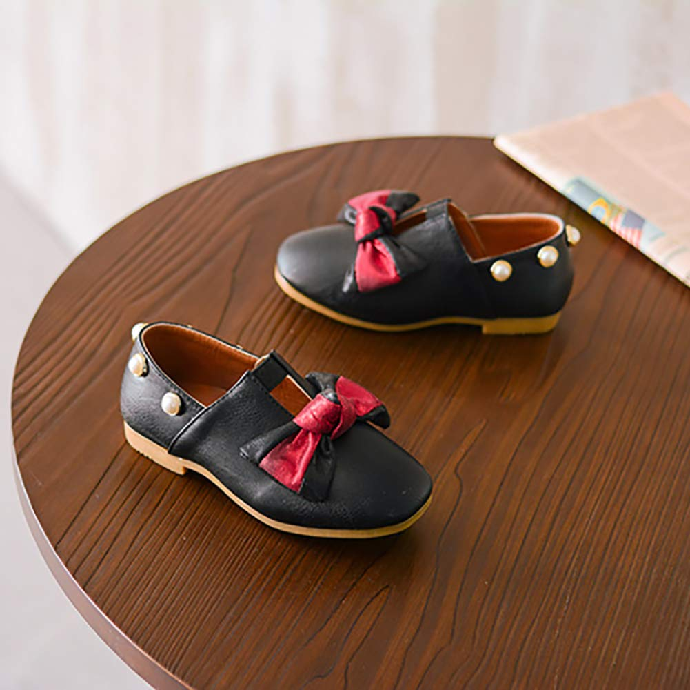 XinYiQu Kids Bowknot Girls Dress Shoes Pearl Princess Girls Leather Shoes