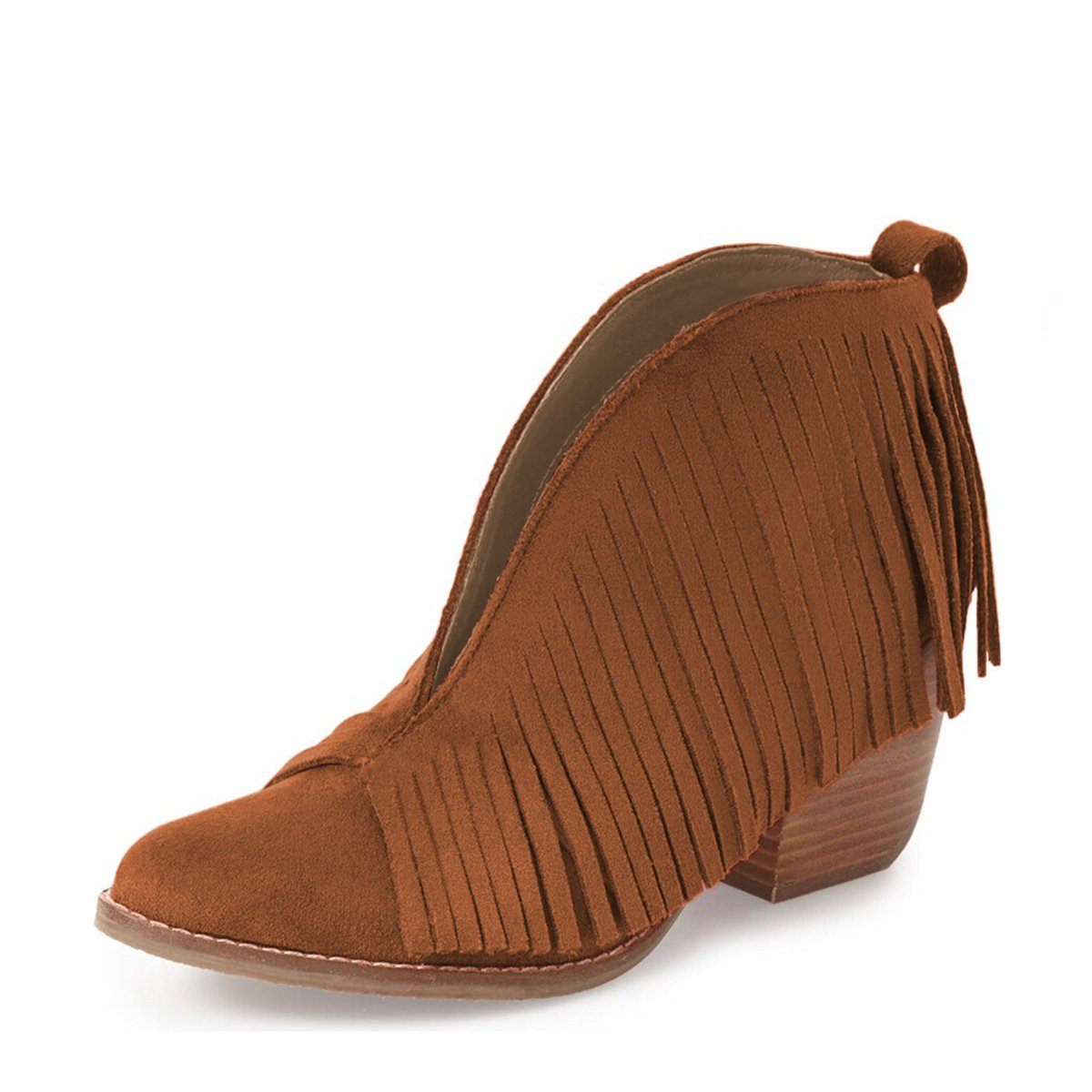 YDN Western Ankle High Boots with Tassels Round Toe Block Heel Suede Retro Booties B01KC2A9Y2 14 B(M) US|Brown
