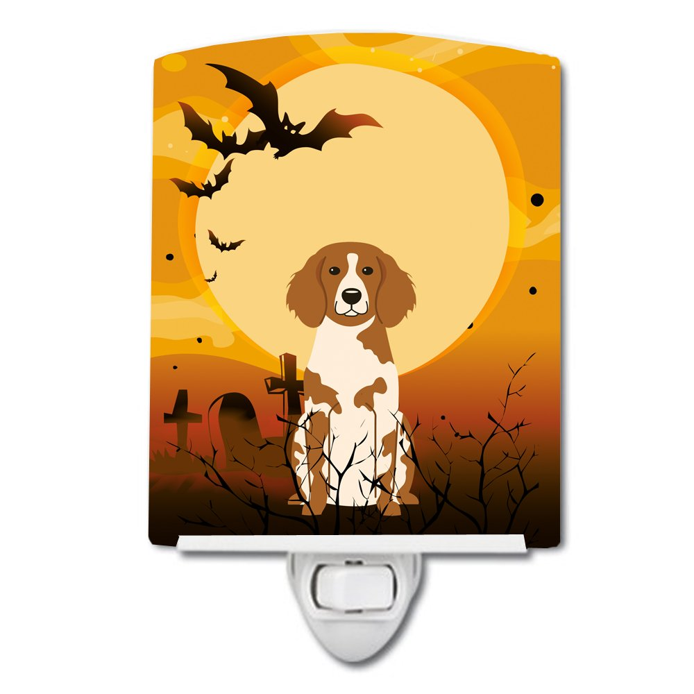 Carolines Treasures Halloween Brittany Spaniel Ceramic Night Light 6x4 Multicolor