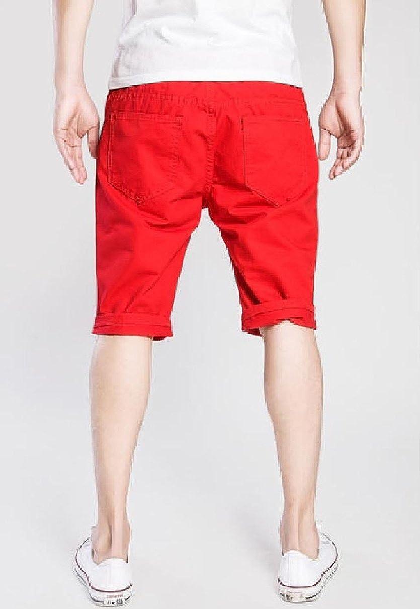 MLG Mens Wash Solid-Colored Broken Hole Denim Summer Bermuda Shorts Red S