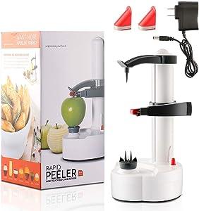 Electric Potato Peeler [2 Replacement Blades] - Rotating Apple Peeler Potato Peeling Multifunction Stainless Steel Fruit Vegetable Electric Peeler Machine - Kitchen Peeling Tool - White
