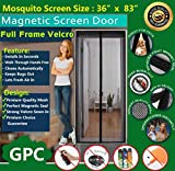 Meiz Magnetic Screen Door ,Instant Screen Door 36'' x 83'',Keeps Bugs Out,Lets Fresh Air In,Toddler And Pet Friendly, Fits Door Up To 34'' x 82'',Black