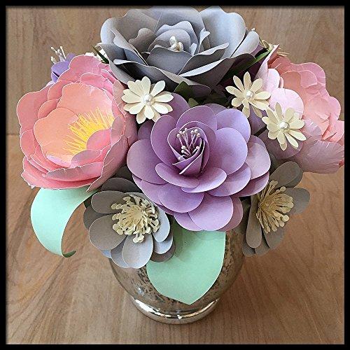 pastel paper flower centerpiece handmade floral arrangement