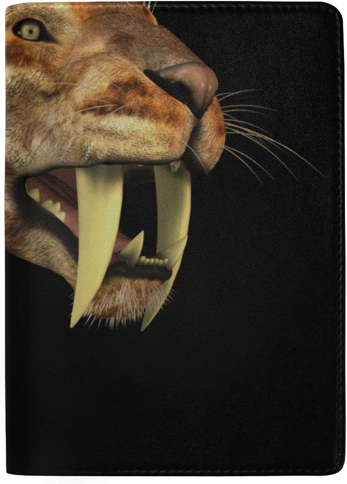 A Huge Saber-toothed Tiger Blocking Print Passport Holder Cover Case Travel Luggage Passport Wallet Card Holder Made With Leather For Men Women Kids Family