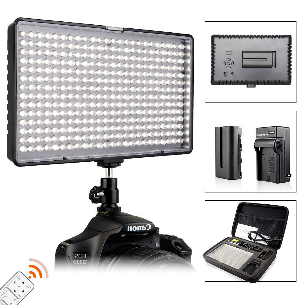 FOSITAN LED Video Studio Light Kit, Bi-Color 336 LED 3200K-5600K Dimmable 2350 Lux CRI 96+, Rechargeable Battery+Charger, Power Adapter, 24W