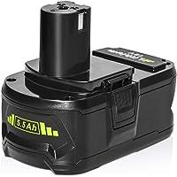 HYGstore RB18L50 P108 18V 5.5Ah Batería de litio con indicador de carga compatible con Ryobi ONE + Tools RB18L40 RB18L25 RB18L15 RB18L13 P108, 18.0V