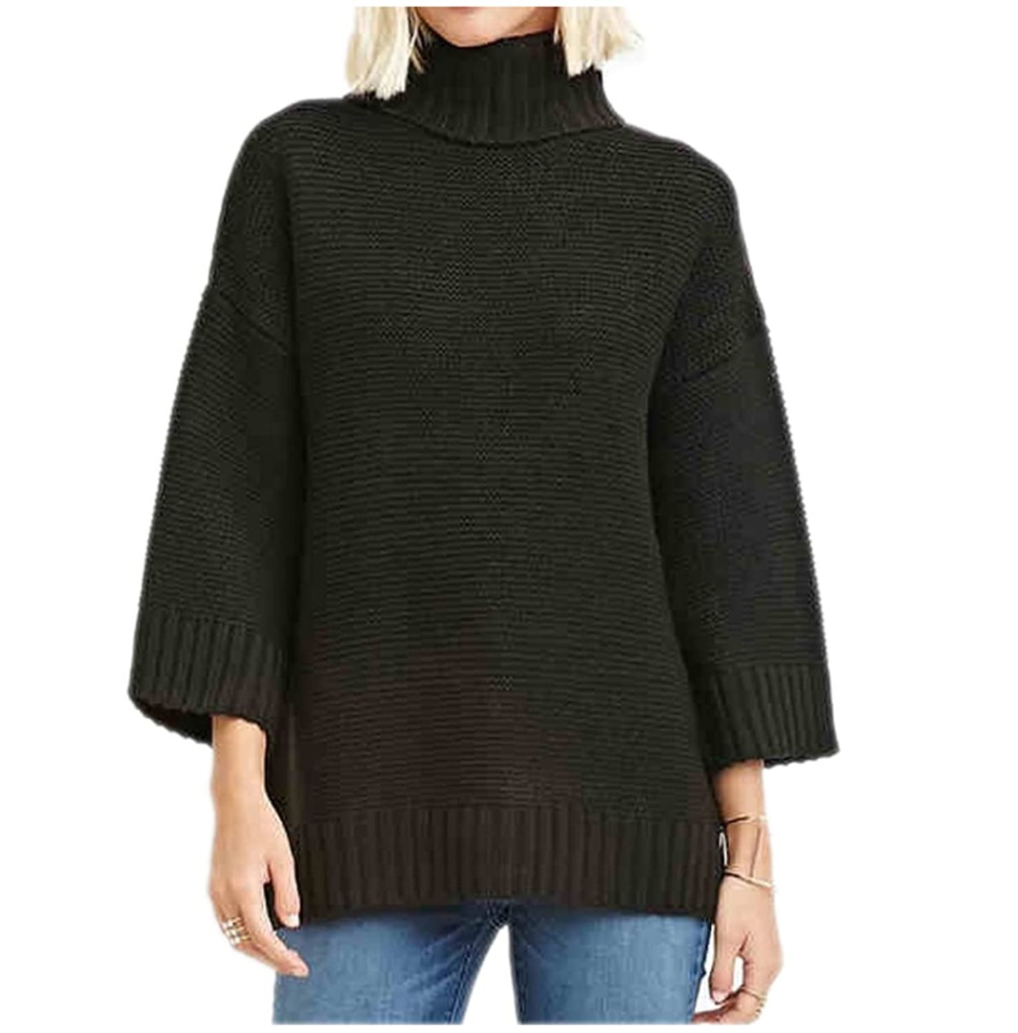 HAODUOYI Simple Fall Shoulder Sleeve All-match Loose High neckline Sweaters