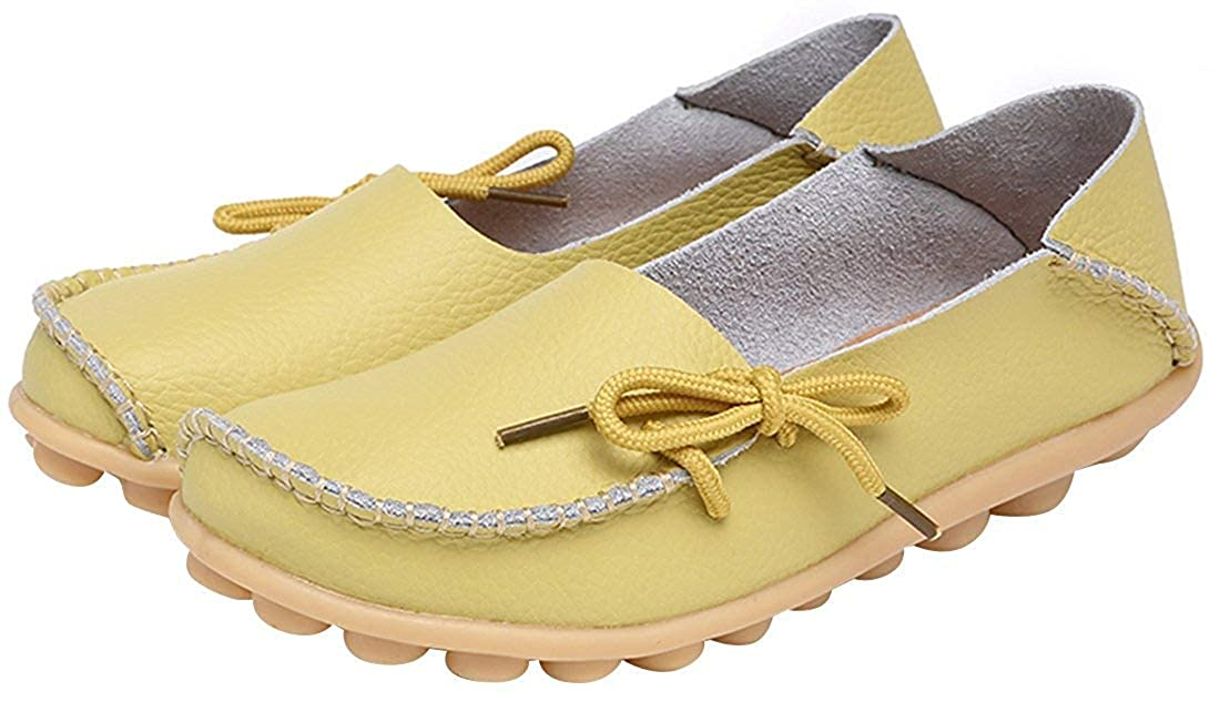 ShowTimes Fashion Womens Leather Cowhide Casual Lace up Flat Driving Loafers